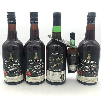Lot of 4x Yalumba N.V. Director's Special Old Tawny Port 750mL & 1x Yalumba Directors Special 95mL