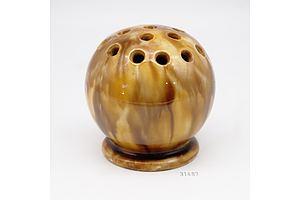 H McHugh Drip Glazed Ceramic Flower Flog, Signed Tasmania 1935