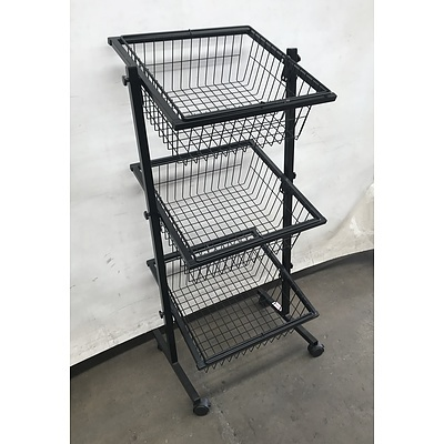 Three-tiered Wire Rack on Wheels