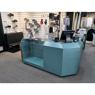 L-Shaped Glass Laminate Reception Counter