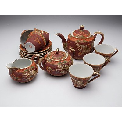 Japanese Moriage Enamel Decorated Porcelain Tea Set for Six, Mid 20th Century