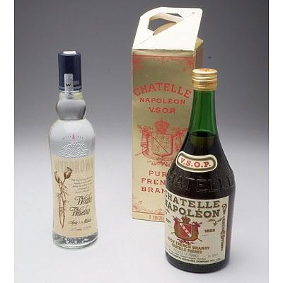 26 Fl Oz Bottle of Chatelle Napoleon VSOP Brandy and 500ml Bottle of Wyborowa Vodka