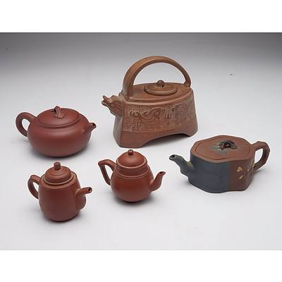 Five Chinese Yixing Ware Teapots