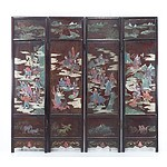 Chinese Lacquer Fourfold Floor Screen, 20th Century