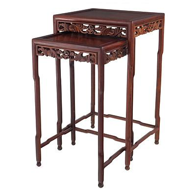 Nice Pair of Chinese Rosewood Nesting Tables Carved with Bats and Good Luck Symbols, Early to Mid 20th Century