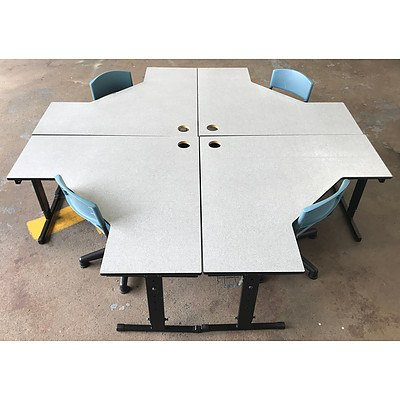 Group of Four Grey L-Shaped Computer Desks with Four Spinning Chairs