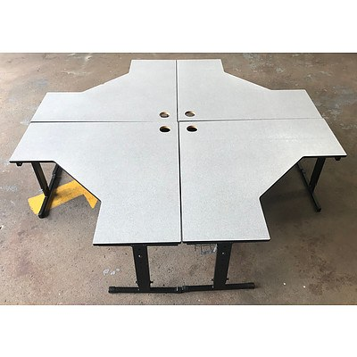 Group of Four Grey L-Shaped Computer Desks