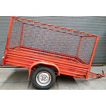 7' x 4' Single Axle Box Trailer With Cage Sides