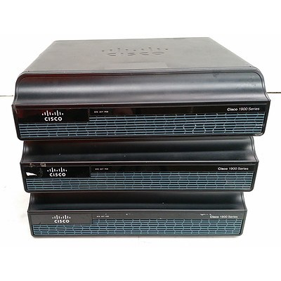 Cisco (CISCO1941/K9) 1900 Series Integrated Services Router - Lot of Three