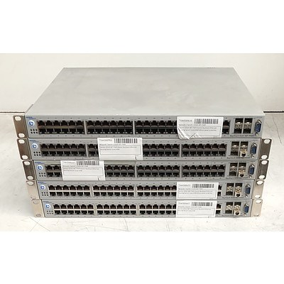 Nortel BayStack (5520-48T-PWR) 48-Port Gigabit Ethernet Switches - Lot of Five