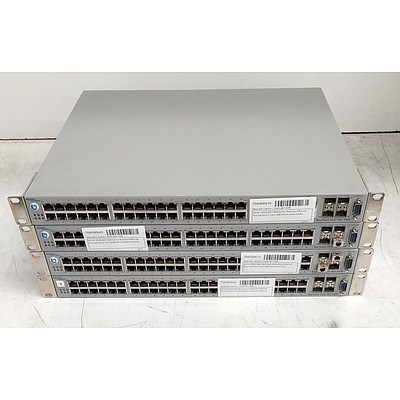 Nortel BayStack (5520-48T-PWR) 48-Port Gigabit Ethernet Switches - Lot of Four