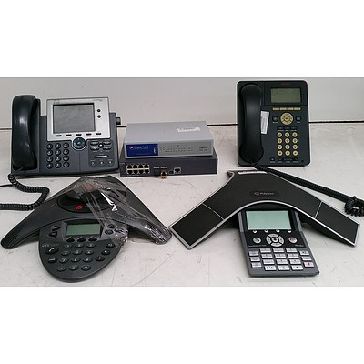 Bulk Lot of Assorted IT & Office Equipment - Office Phones, Teleconferencing Equipment & Network Switch