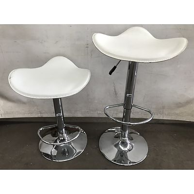 Two Contemporary Gaslift Bar Stools
