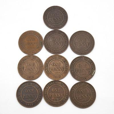 Ten Australian George V Pennies, 1912, 1913 and 1914