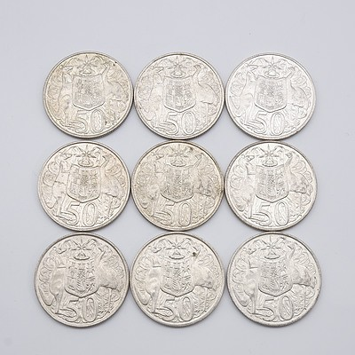 Nine Australian 1966 Silver Fifty Cent Coins