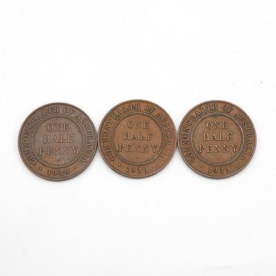 Three Australia George V Half Pennies 1939