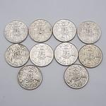 Ten Australian 1966 Silver Fifty Cent Coins