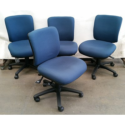 Lot of Four Near New Chair Solutions Blue Medium Back Fabric Office Chairs
