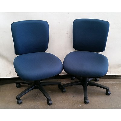 Lot of Two Near New, Chair Solutions Blue Medium Back Fabric Office Chairs