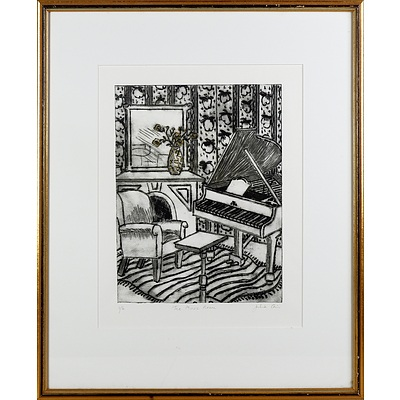 """Nicola Dickson """"The African"""" Watercolour, Pencil Sketch of a Indian Woman, Julia Cain Music Room Etching, and Two Cedric Emanuel Offset Prints"""