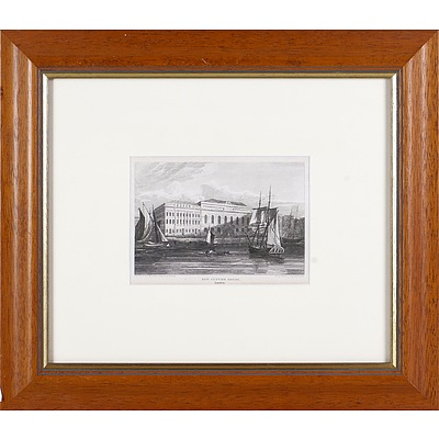 Two Framed Antiquarian English Engravings, Somerset House and New Customs House