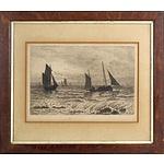 David Law (1831-1901) Fishing Vessels, Engraving