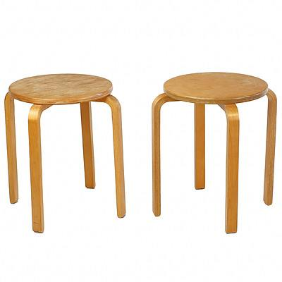Pair Vintage Alvar Aalto Design Laminated Ply Stools or Side Tables