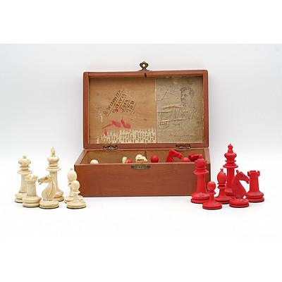 Chinese Export Complete Ivory Chess Set in Wood Box Inscribed Batavia 1921