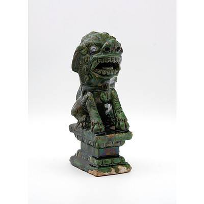 Chinese Terracotta/Pottery Fu Lion of Some Sage with Iridised Green Glaze, Possibly 17th Century