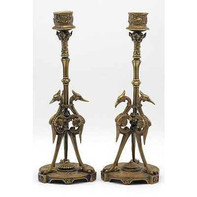 Pair of Antique French Cast Brass/Bronze Candlesticks, Late 19th Century