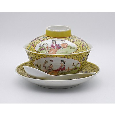 Chinese Famille Rose Covered Bowl and Saucer with Matching Spoon, Early 20th Century