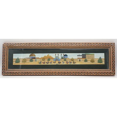 Signed Persian Miniature Painting of a Polo Match in Sadeli Work Inlaid Frame, Late 20th Century