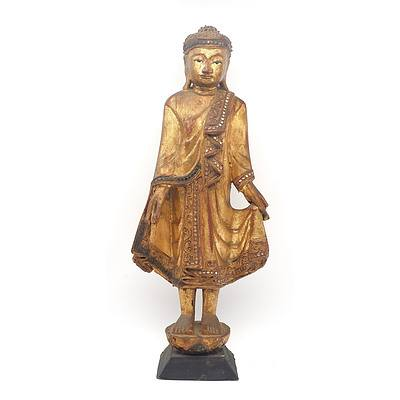 Burmese Carved and Lacquered Wood Figure of Buddha with Inlaid Glass Ornaments, 20th Century