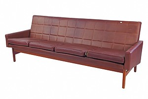1960s Fler 'Flerline' Tasmanian Blackwood Four Seater Sofa Designed by Fred Lowen