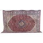 Impressive Large Persian Finely Hand Knotted Silk Pile Isfahan Floral Medallion Carpet