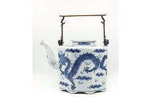 Chinese Blue and White Dragon Teapot with Brass Bail Handle, 20th Century