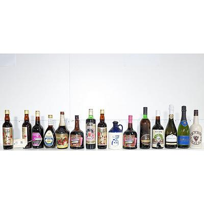 Quantity of 15 Vintage Bottles of Alcohol Including Dr Jurds Jungle Juice, Mcwilliams Cherry Cocktail, Lindemans Shiraz Cabernet 1987 and More