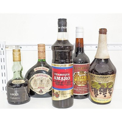 Various Liqueurs and Wine as Shown