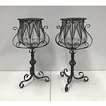 Pair of Ornate Metal Outdoor Light Stands