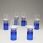 Six Pierre Cardin Blue Stem Glasses