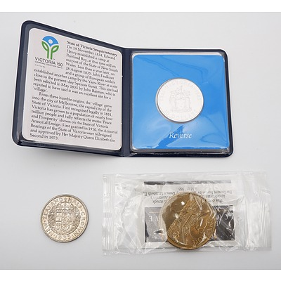 RAM $10 Uncirculated Sterling Silver Coin, State Series 1985, 1933 New Zealand Half Crown and a 1988 Five Dollar Commemorative Coin
