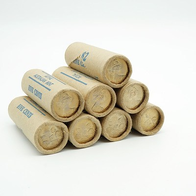 Eight RAM 1980 5 Cent Rolls