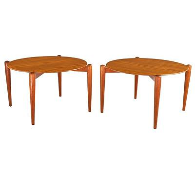 Superb Pair of 1960s 'Hi Fi' Brand Teak and Formwood/Melamine Surfaced Circular Side Tables Made in England