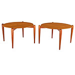 Superb Pair of 1960s Teak Circular Side Tables