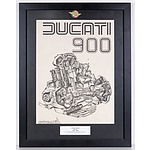 Ducati 900 Engine Diagram In Framed Presentation