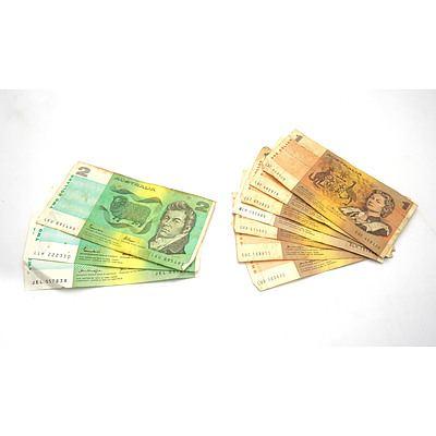 Seven Australian $1 Notes, Including Knight Wheeler, Knight/Stone, Phillips/ Wheeler and Three Australian $2 Notes, Including Knight/Stone and Johnston/Fraser