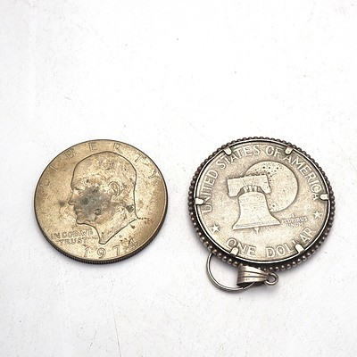 American 1974 One Dollar and 1976 American One Dollar Pendant