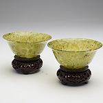 Pair of Chinese Translucent Serpentine Bowls