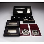 Canberra Branded Desk Ornaments Including Clock, Letter Opener, Aradon Pewter Medallions and Pen Sets