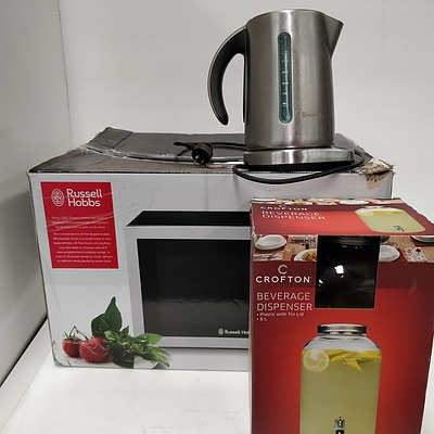 Russell Hobbs Microwave, Breville Electric Kettle, Crofton Beverage Dispenser